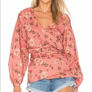 Lovers + Friends Barnes Blouse in Amber Floral S
